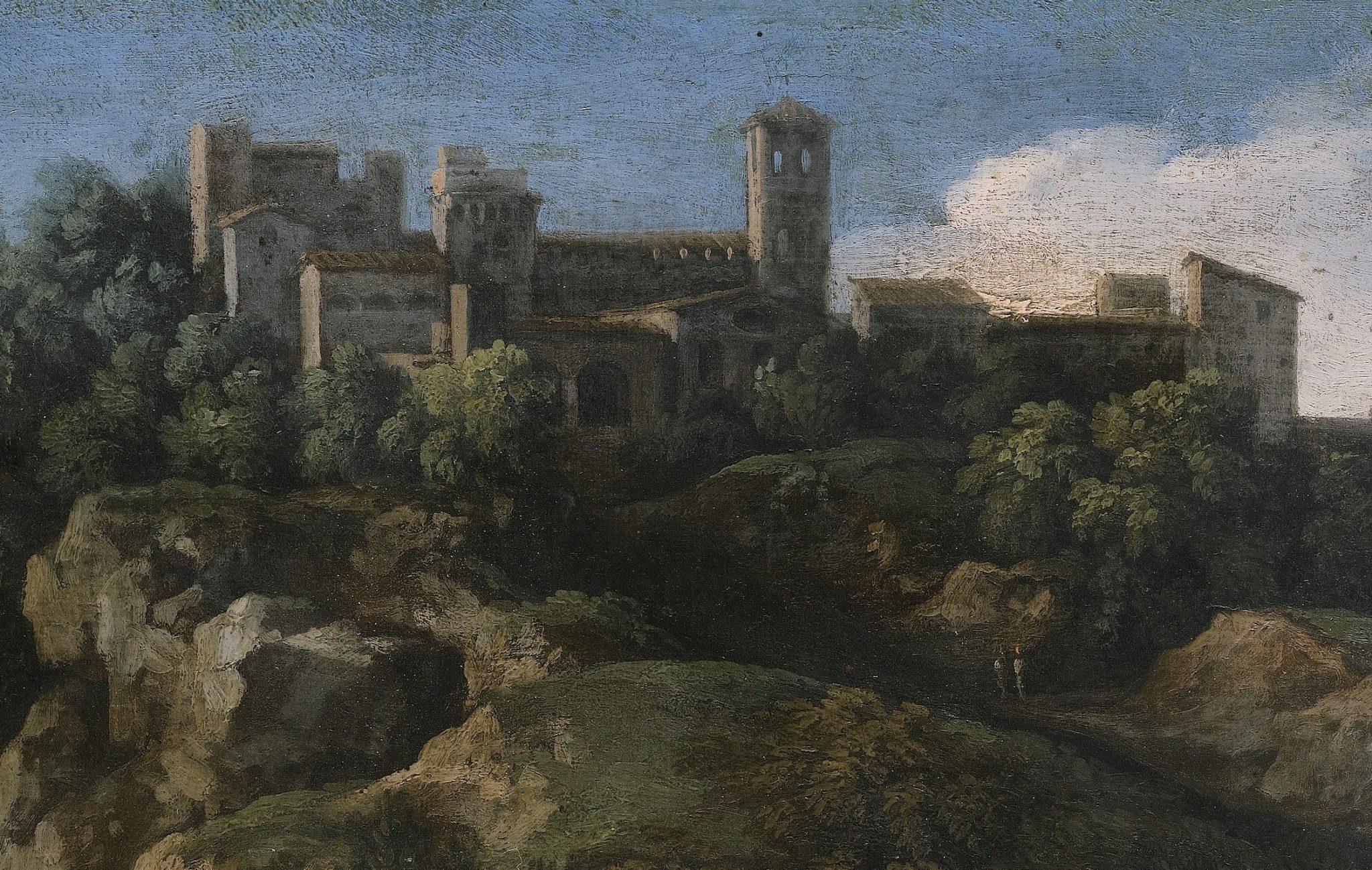 A rocky roman landscape with a hilltop town